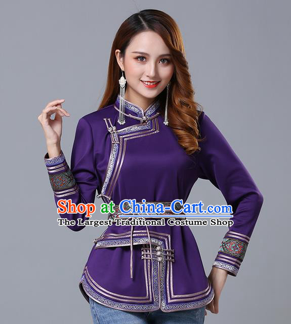 Chinese Traditional Purple Satin Blouse Mongol Ethnic Nationality Costume Mongolian Minority Upper Outer Garment for Women