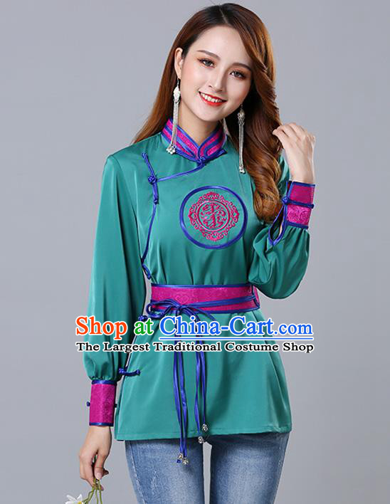 Chinese Traditional Mongolian Minority Green Satin Blouse Mongol Ethnic Nationality Upper Outer Garment Costume for Women