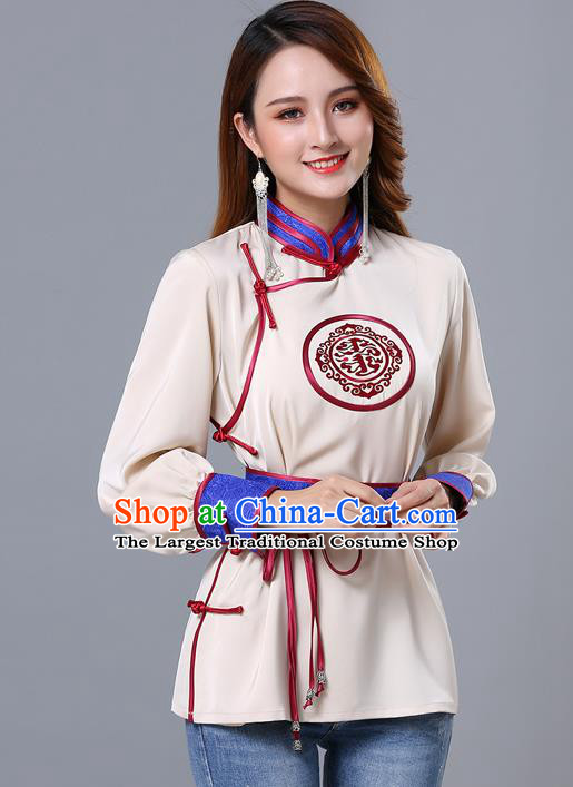 Chinese Traditional Mongolian Minority Beige Satin Blouse Mongol Ethnic Nationality Upper Outer Garment Costume for Women