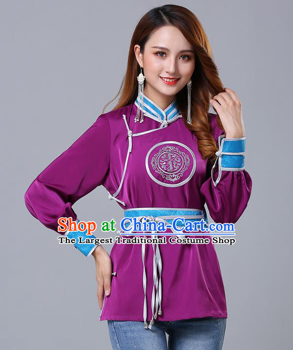 Chinese Traditional Mongolian Minority Purple Satin Blouse Mongol Ethnic Nationality Upper Outer Garment Costume for Women