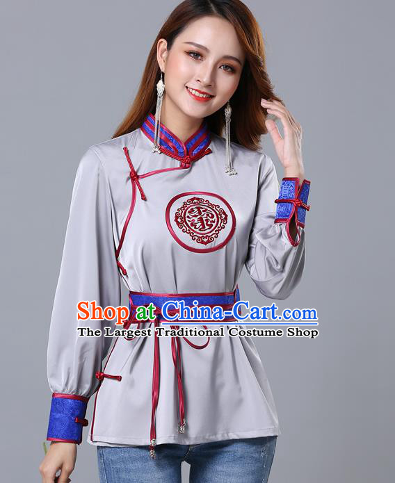 Chinese Traditional Mongolian Minority Grey Satin Blouse Mongol Ethnic Nationality Upper Outer Garment Costume for Women
