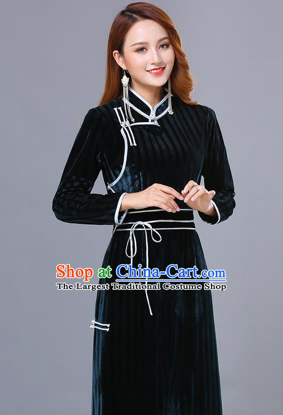 Chinese Mongol Ethnic Nationality Dark Green Pleuche Dress Traditional Mongolian Minority Garment Costume for Women