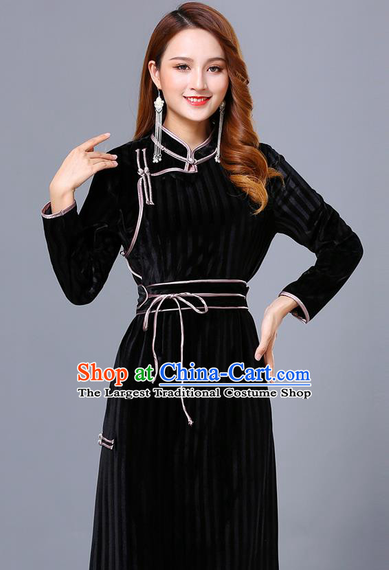Chinese Mongol Ethnic Nationality Black Pleuche Dress Traditional Mongolian Minority Garment Costume for Women