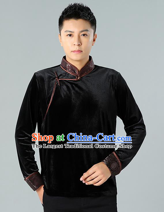 Chinese Mongolian Nationality Upper Outer Garment Traditional Mongol Ethnic Minority Costume Black Pleuche Shirt for Men