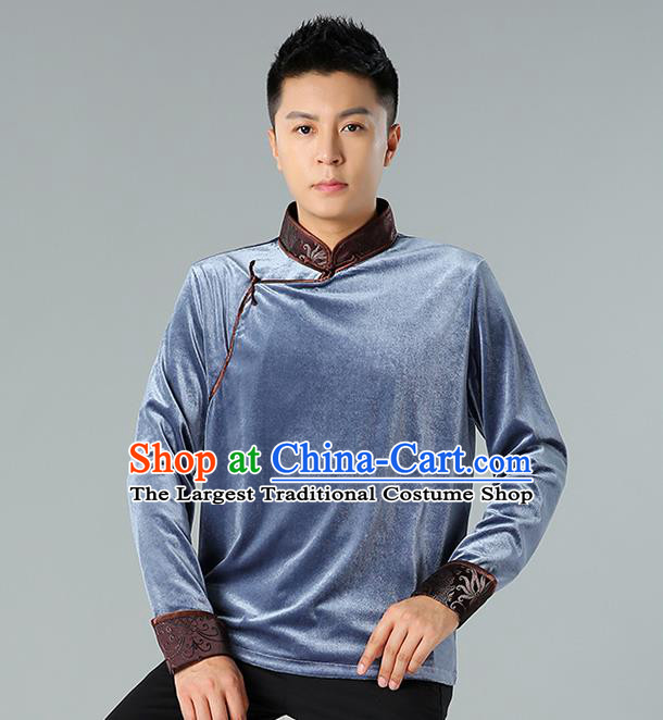 Chinese Mongolian Nationality Upper Outer Garment Traditional Mongol Ethnic Minority Costume Grey Pleuche Shirt for Men