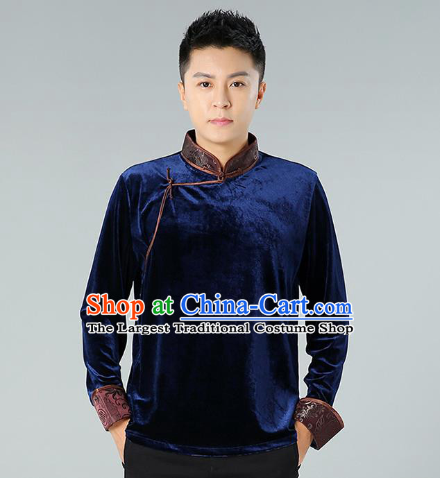 Chinese Mongolian Nationality Upper Outer Garment Traditional Mongol Ethnic Minority Costume Deep Blue Pleuche Shirt for Men