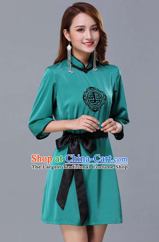 Chinese Traditional National Green Short Dress Mongolian Minority Garment Mongol Ethnic Nationality Costume for Women