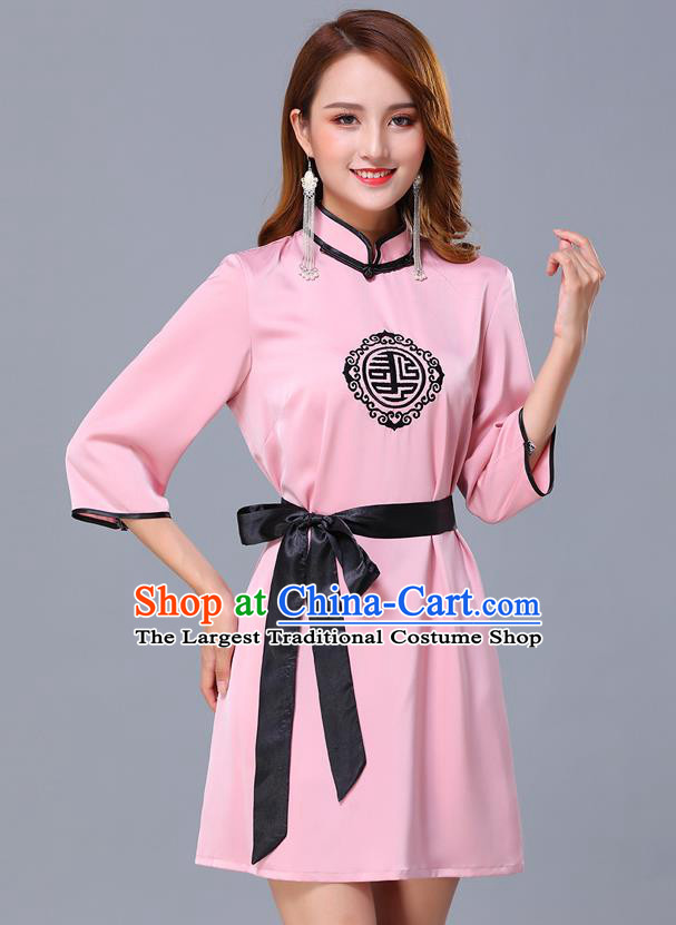 Chinese Traditional National Pink Short Dress Mongolian Minority Garment Mongol Ethnic Nationality Costume for Women