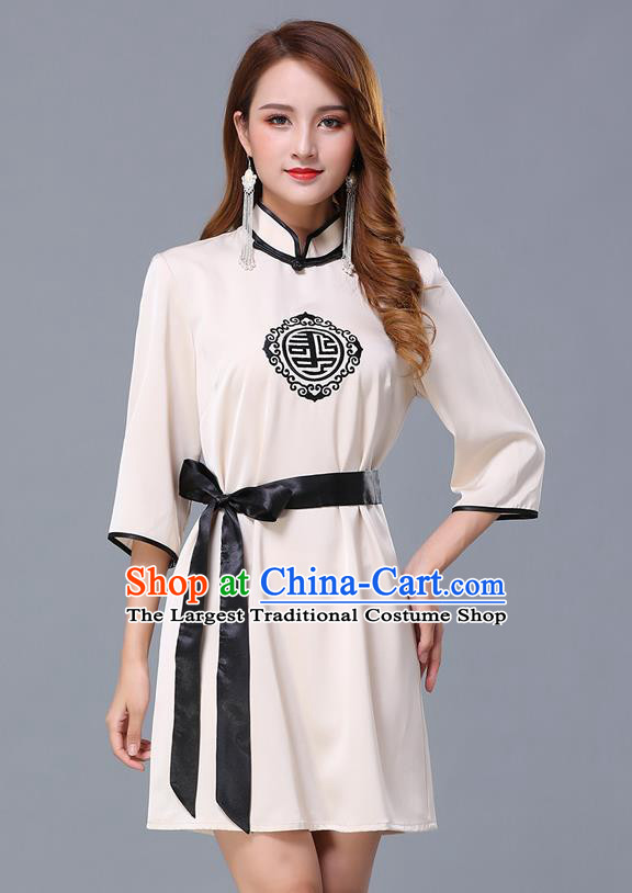 Chinese Traditional National Beige Short Dress Mongolian Minority Garment Mongol Ethnic Nationality Costume for Women