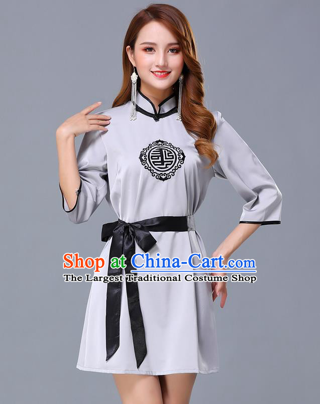 Chinese Traditional National Grey Short Dress Mongolian Minority Garment Mongol Ethnic Nationality Costume for Women