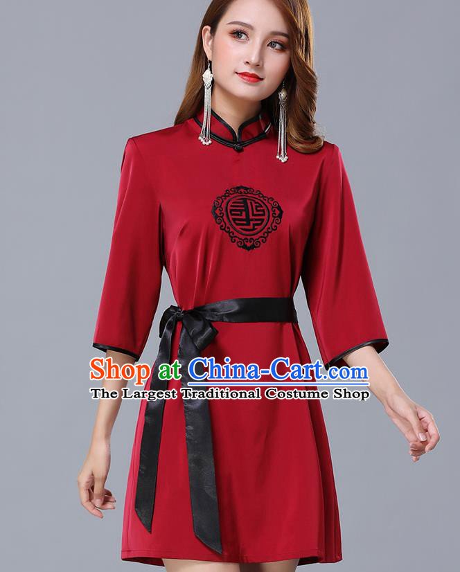 Chinese Traditional National Wine Red Short Dress Mongolian Minority Garment Mongol Ethnic Nationality Costume for Women