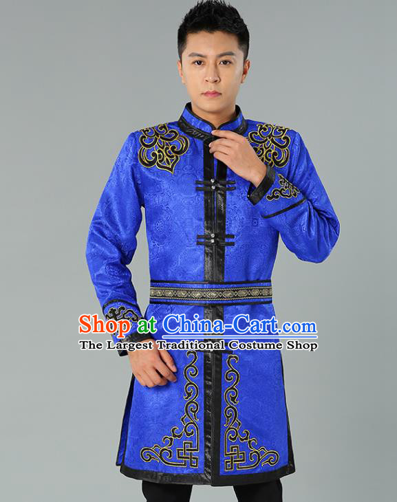 Chinese Mongol Nationality Coat Garment Traditional Ethnic Minority Costume Royalblue Mongolian Robe for Men