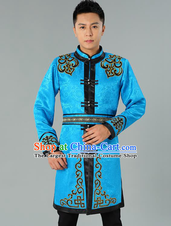 Chinese Mongol Nationality Coat Garment Traditional Ethnic Minority Costume Blue Mongolian Robe for Men