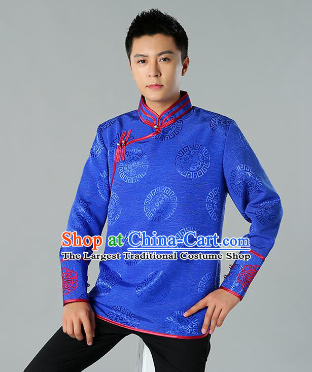 Chinese Mongol Nationality Upper Outer Garment Traditional Ethnic Minority Costume Royalblue Jacket for Men