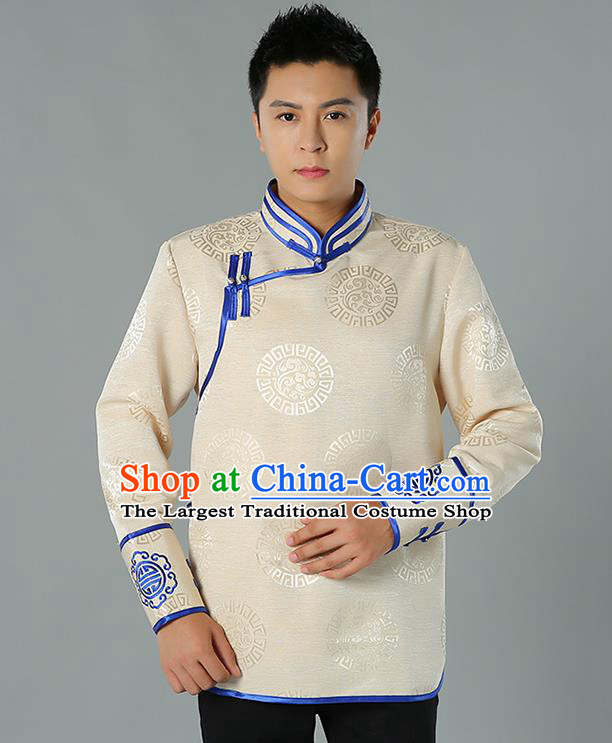 Chinese Mongol Nationality Upper Outer Garment Traditional Ethnic Minority Costume Beige Jacket for Men