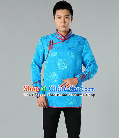 Chinese Mongol Nationality Upper Outer Garment Traditional Ethnic Minority Costume Blue Jacket for Men