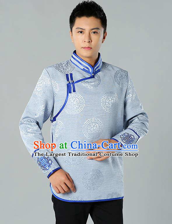 Chinese Mongol Nationality Upper Outer Garment Traditional Ethnic Minority Costume Grey Jacket for Men