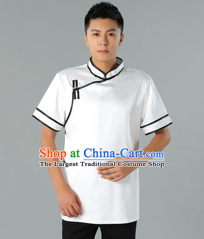 Chinese Mongol Nationality Minority Summer White Shirt Traditional Ethnic Upper Outer Garment Informal Costume for Men