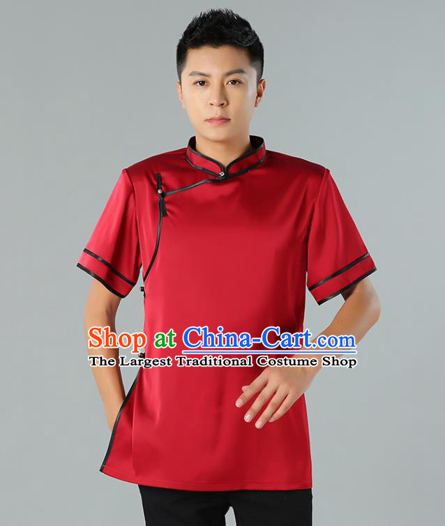Chinese Mongol Nationality Minority Summer Red Shirt Traditional Ethnic Upper Outer Garment Informal Costume for Men