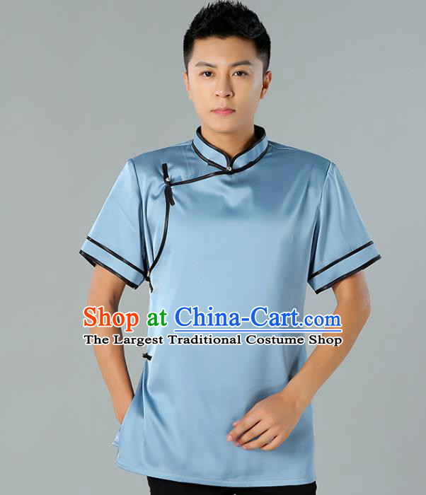 Chinese Mongol Nationality Minority Summer Blue Shirt Traditional Ethnic Upper Outer Garment Informal Costume for Men