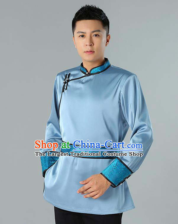 Chinese National Blue Shirt Traditional Ethnic Upper Outer Garment Mongol Minority Informal Costume for Men
