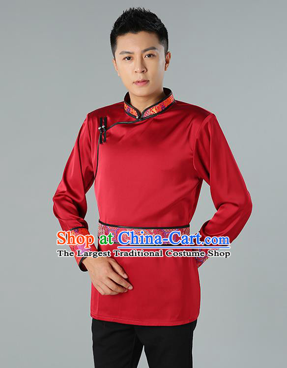 Chinese National Wine Red Shirt Traditional Ethnic Upper Outer Garment Mongol Minority Informal Costume for Men