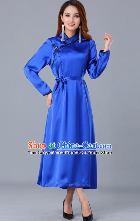 Chinese Traditional Mongolian Nationality Royalblue Satin Dress Ethnic Woman Informal Costume Mongol Minority Garment Apparels