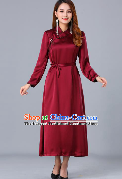 Chinese Traditional Mongolian Nationality Wine Red Satin Dress Ethnic Woman Informal Costume Mongol Minority Garment Apparels