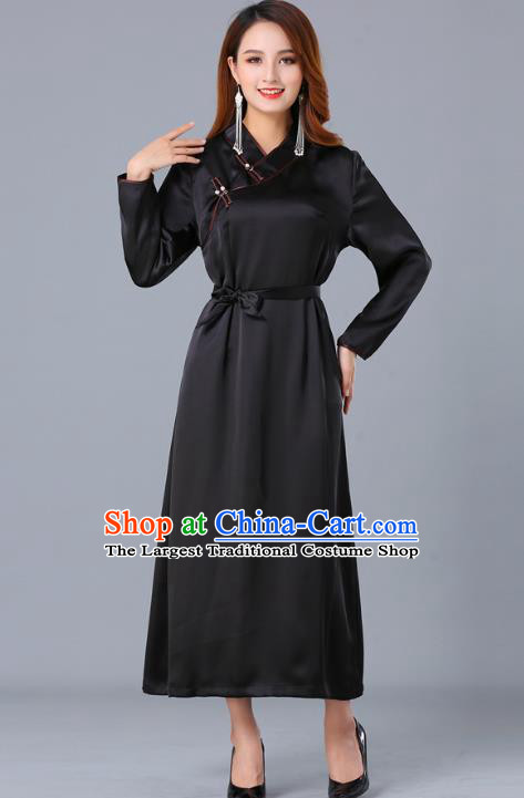 Chinese Traditional Mongolian Nationality Black Satin Dress Ethnic Woman Informal Costume Mongol Minority Garment Apparels