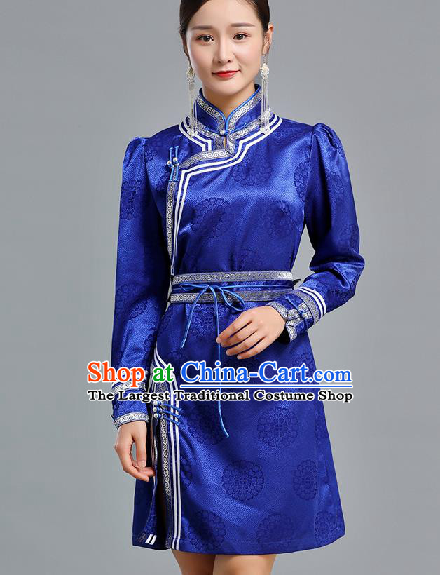 Traditional Chinese Mongolian Nationality Royalblue Brocade Short Dress Ethnic Informal Costume Mongol Minority Garment Woman Apparels