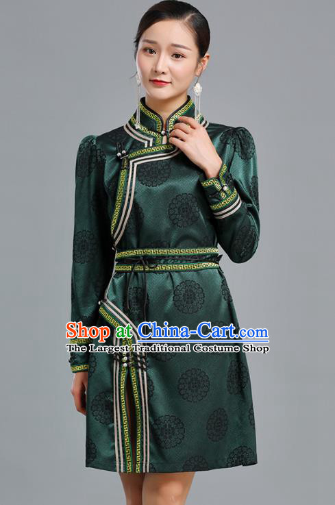 Traditional Chinese Mongolian Nationality Green Brocade Short Dress Ethnic Informal Costume Mongol Minority Garment Woman Apparels