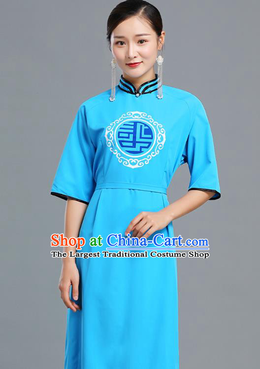 Traditional Chinese Woman Apparels Mongolian Nationality Blue Dress Ethnic Informal Costume Mongol Minority Garment