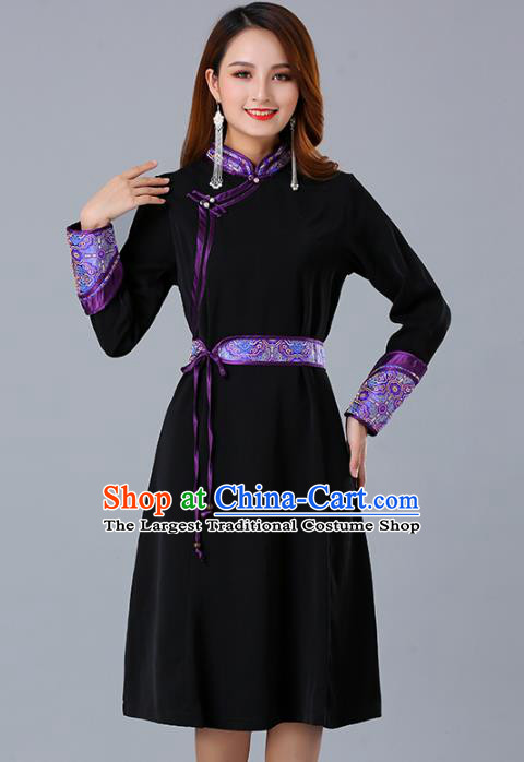 Traditional Chinese Woman Apparels Mongolian Nationality Black Dress Mongol Minority Garment Ethnic Informal Costume