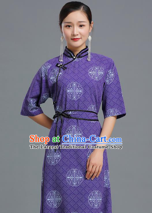 Traditional Chinese Ethnic Informal Costume Woman Apparels Mongol Minority Garment Mongolian Nationality Purple Dress
