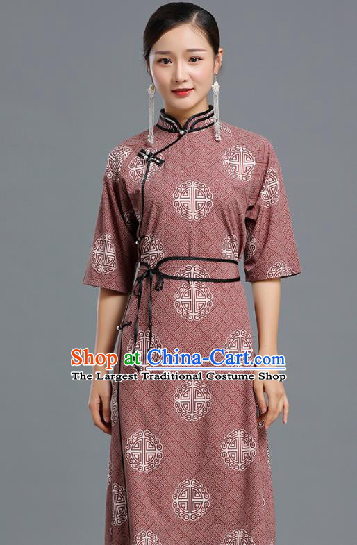 Traditional Chinese Ethnic Informal Costume Woman Apparels Mongol Minority Garment Mongolian Nationality Wine Red Dress
