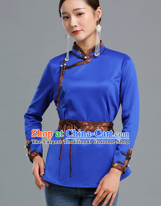 Traditional Chinese Ethnic Royalblue Blouse Woman Apparels Mongol Minority Upper Outer Garment Mongolian Nationality Informal Costume