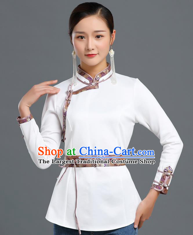 Traditional Chinese Ethnic White Blouse Woman Apparels Mongol Minority Upper Outer Garment Mongolian Nationality Informal Costume