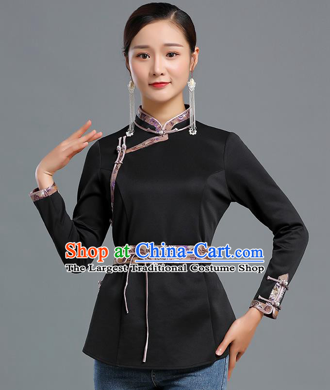 Traditional Chinese Ethnic Black Blouse Woman Apparels Mongol Minority Upper Outer Garment Mongolian Nationality Informal Costume