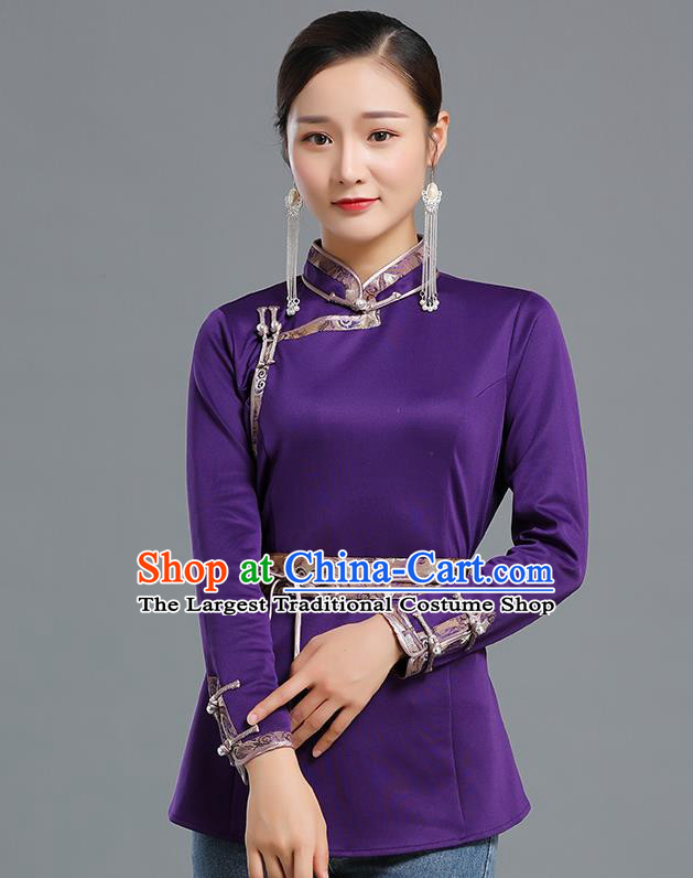 Traditional Chinese Ethnic Purple Blouse Woman Apparels Mongol Minority Upper Outer Garment Mongolian Nationality Informal Costume