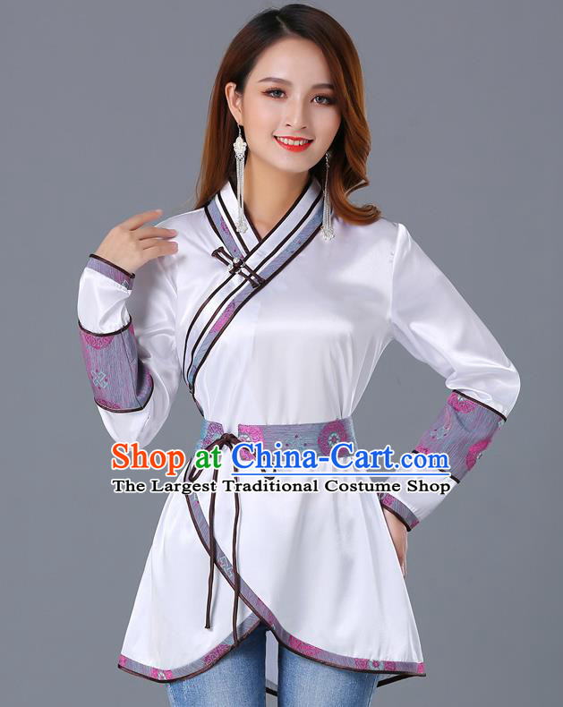 Traditional Chinese Ethnic Woman White Blouse Apparels Mongol Minority Upper Outer Garment Mongolian Nationality Informal Costume