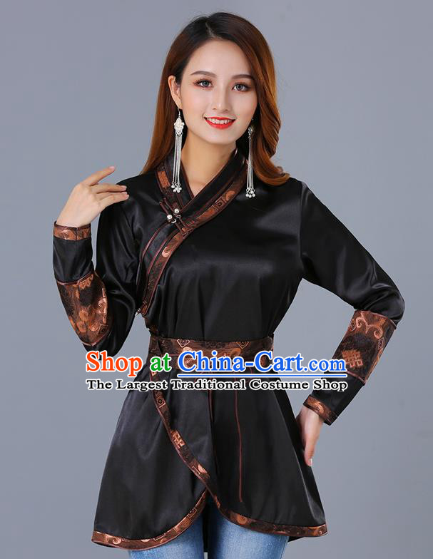 Traditional Chinese Ethnic Woman Black Blouse Apparels Mongol Minority Upper Outer Garment Mongolian Nationality Informal Costume