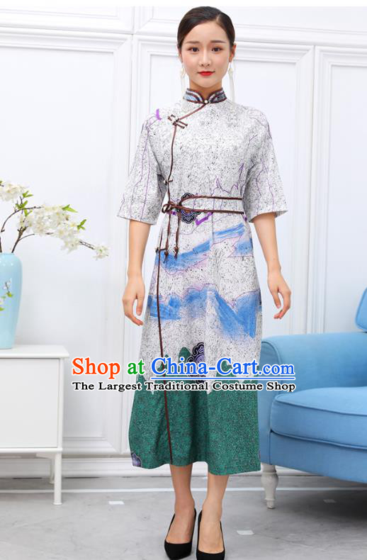 Traditional Chinese Ethnic White Chiffon Dress Mongol Minority Garment Costume Mongolian Nationality Informal Apparels for Woman