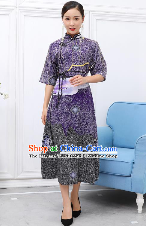 Traditional Chinese Ethnic Purple Chiffon Dress Mongol Minority Garment Costume Mongolian Nationality Informal Apparels for Woman