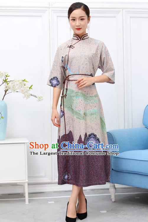 Traditional Chinese Ethnic Beige Chiffon Dress Mongol Minority Garment Costume Mongolian Nationality Informal Apparels for Woman
