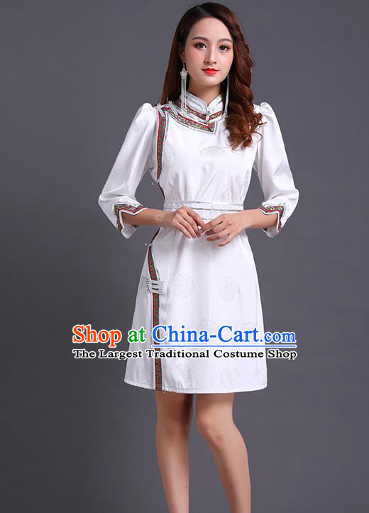 Traditional Chinese Ethnic Costume Mongol Minority White Dress Garment Mongolian Nationality Apparels for Woman