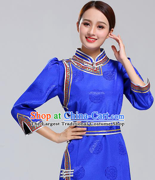 Traditional Chinese Ethnic Costume Mongol Minority Royalblue Dress Garment Mongolian Nationality Apparels for Woman