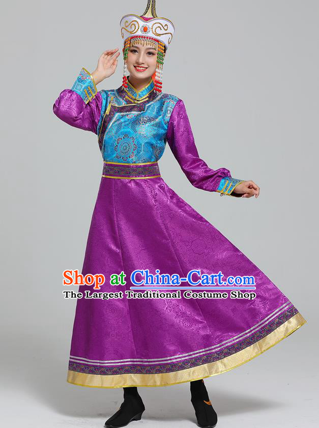 Traditional Chinese Ethnic Folk Dance Costume Mongol Minority Purple Dress Garment Mongolian Nationality Women Apparels