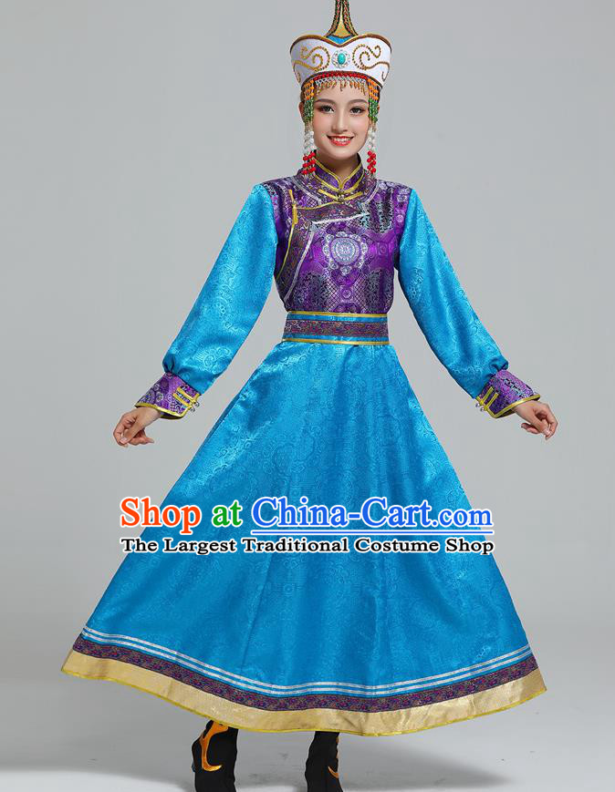 Traditional Chinese Ethnic Folk Dance Costume Mongol Minority Blue Dress Garment Mongolian Nationality Women Apparels