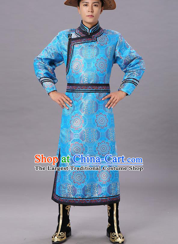 Chinese Traditional Ethnic Dance Garment Mongol Minority Costume Blue Brocade Mongolian Robe for Men
