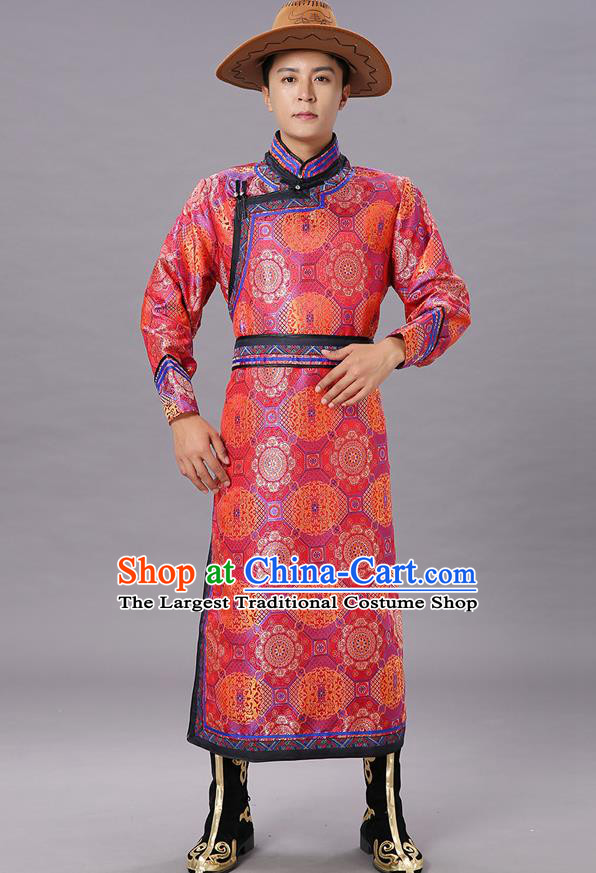 Chinese Traditional Ethnic Dance Garment Mongol Minority Costume Red Brocade Mongolian Robe for Men